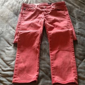 AG Red faded skinny jeans